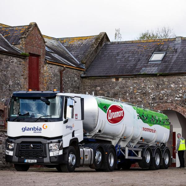 Glanbia Ireland truck collecting milk from a family farm