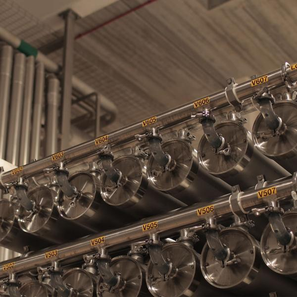 Internal image of some pipes in the Glanbia Ireland Ingredients Ballyraggart Facility