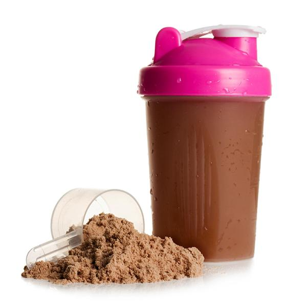 image of a protein shaker and powder