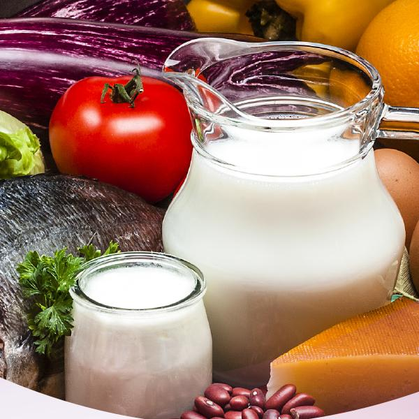 image of frui, veg and dairy products to boost immune health
